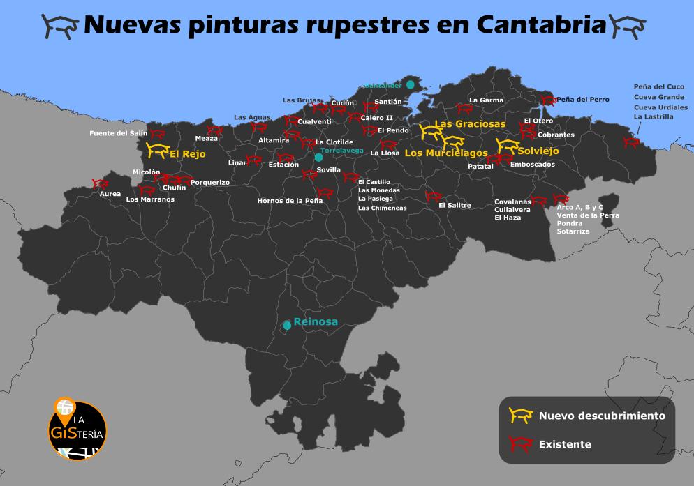 Resultado de imagen de mapa cuevas arte rupestre en cantabria
